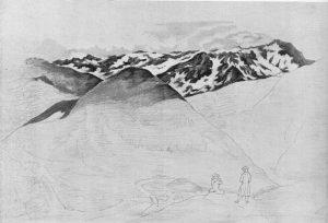 © Wikipedia - Tuschezeichnung Goethes mit Blick nach Italien vom Gotthardt, 1775